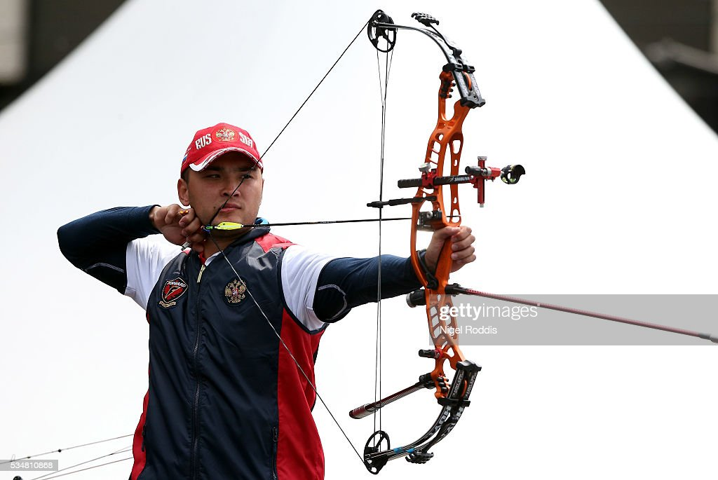 Viktor Kalashnikov of Russia shoots during the Compound Mens Team Gold medal team match at the European Archery Championship on May 28, 2016 in Nottingham, England.