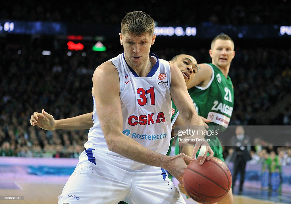 Viktor Khryapa #31 of CSKA Moscow competes with Ibrahim Jaaber #5 of Zalgiris Kaunas in action during the 20122013 Turkish Airlines Euroleague Top 16...