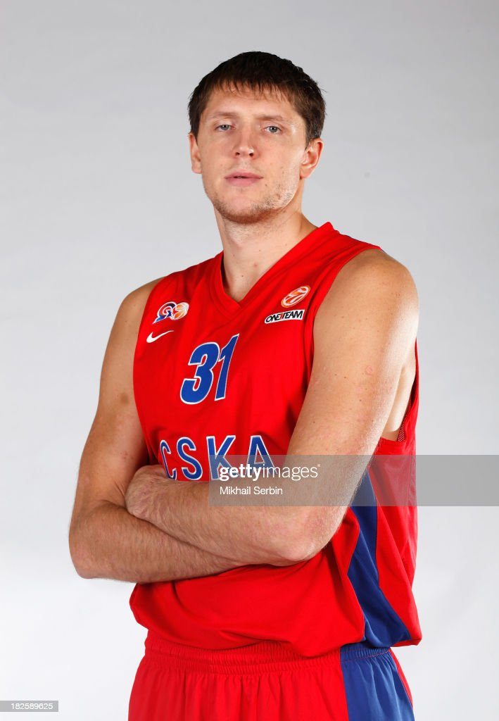 <a gi-track='captionPersonalityLinkClicked' href=/galleries/search?phrase=Viktor+Khryapa&family=editorial&specificpeople=209061 ng-click='$event.stopPropagation()'>Viktor Khryapa</a> during the CSKA Moscow 2013/14 Turkish Airlines Euroleague Basketball Media day at Universal Sports Hall CSKA on October 1, 2013 in Moscow, Russia.