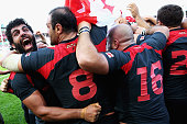 Viktor Kolelishvili of Georgia celebrates his teams win after the 2015 Rugby World Cup Pool C match between Tonga and Georgia at Kingsholm Stadium on...