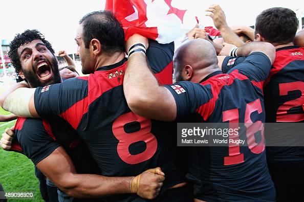 Viktor Kolelishvili of Georgia celebrates his teams win after the 2015 Rugby World Cup Pool C match between Tonga and Georgia at Kingsholm Stadium on...