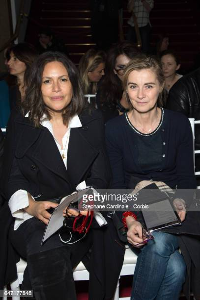 Viktor Lazlo and actress Anne Consigny attends the Alexis Mabille show as part of the Paris Fashion Week Womenswear Fall/Winter 2017/2018 on March 2...