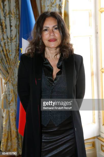 Viktor Lazlo attends Michel Bouquet is elevated to the Rank of 'Grand Officier de la Legion d'Honneur' at Elysee Palace on March 17 2017 in Paris...