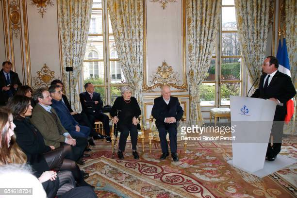 Viktor Lazlo Francis Lombrail JeanClaude Camus Juliette Carre her husband Michel Bouquet and Francois Hollande attend Michel Bouquet is elevated to...