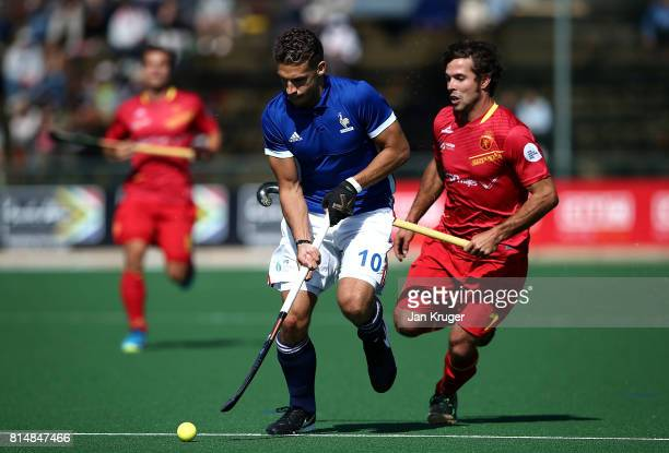 Viktor Lockwood of France controls the ball from Pau Quemada of Spain during day 4 of the FIH Hockey World League Men's Semi Finals Pool A match...