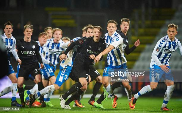 Viktor Lundberg of Randers FC and Casper Nielsen of OB Odense in action during the Danish Alka Superliga match between OB Odense and Randers FC at...