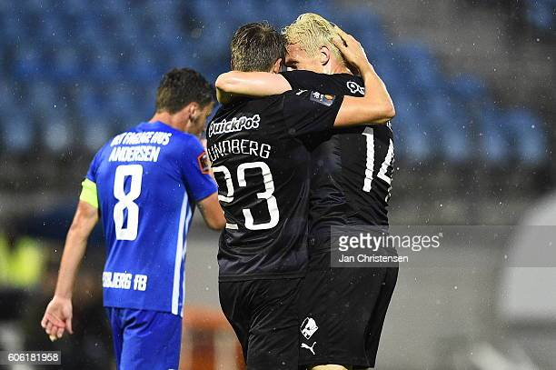 Viktor Lundberg of Randers FC and Marvin Pourie of Randers FC celebrate the 11 goal from Viktor Lundberg during the Danish Alka Superliga match...