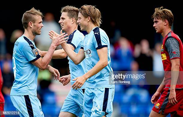 Viktor Lundberg of Randers FC celebrates with teammate Mads Fenger during the Danish Alka Superliga match between Randers FC and FC Nordsjalland at...