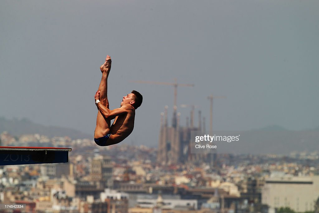 Viktor Minibaev of Russia competes in the Men's 10m Platform Diving Semifinal round on day eight of the 15th FINA World Championships at Piscina Municipal de Montjuic on July 27, 2013 in Barcelona, Spain.