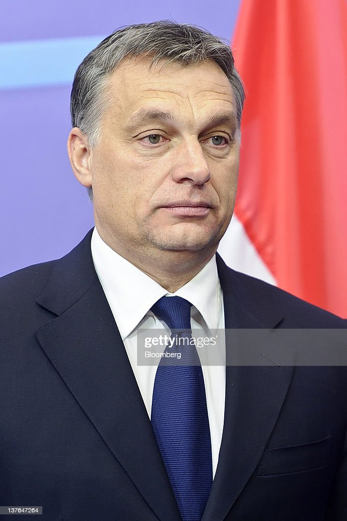 <a gi-track='captionPersonalityLinkClicked' href=/galleries/search?phrase=Viktor+Orban&family=editorial&specificpeople=4685765 ng-click='$event.stopPropagation()'>Viktor Orban</a>, Hungary's prime minister, arrives for a meeting with Herman Van Rompuy, president of the European Union (EU), at the European Council headquarters in Brussels, Belgium, on Tuesday, Jan. 24, 2012. Hungary unexpectedly left the European Union's highest benchmark interest rate unchanged as local assets rebounded from record lows after Orban said he would yield in a row with the European Union. Photographer: Jock Fistick/Bloomberg via Getty Images