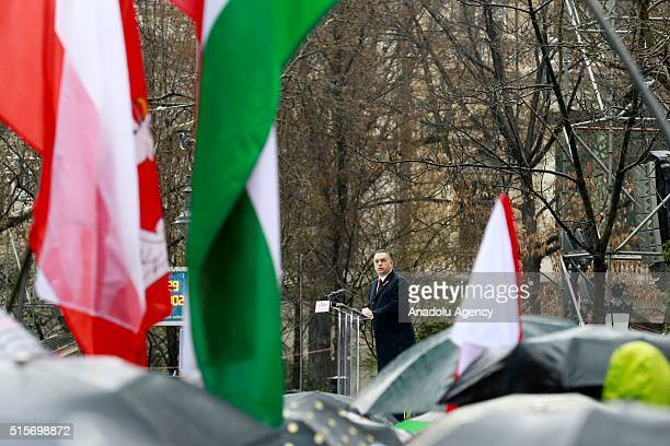 Viktor Orban Hungary's prime minister arrives for an official address outside the National Museum of Hungary during the Hungary's National Day...