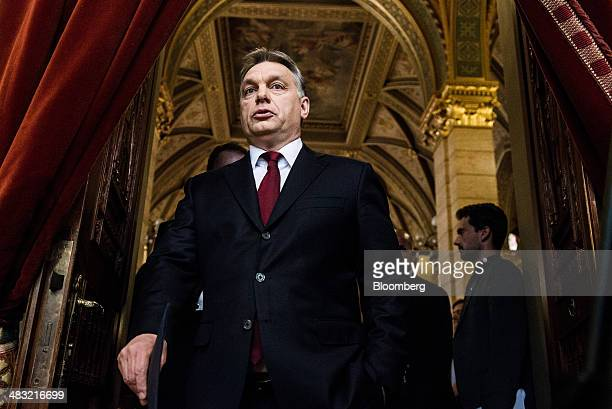 Viktor Orban Hungary's prime minister attends a news conference the day after securing a second term of office in Budapest Hungary on Monday April 7...