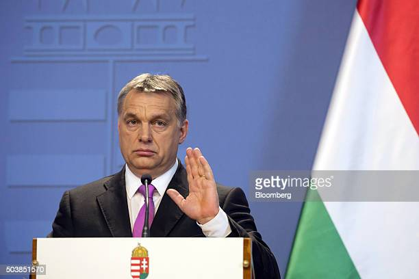Viktor Orban Hungary's prime minister gestures during a joint news conference with David Cameron UK prime minister in Budapest Hungary on Thursday...