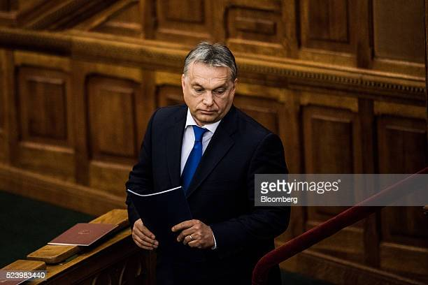 Viktor Orban Hungary's prime minister looks on during the fifth constitution anniversary event at the national parliament in Budapest Hungary on...