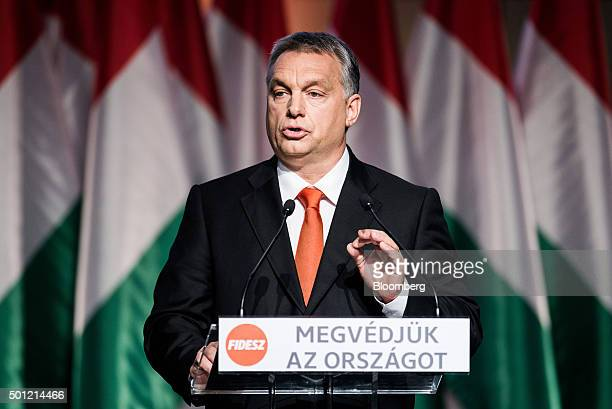 Viktor Orban Hungary's prime minister speaks during an address at the Fidesz Party congress in Budapest Hungary on Sunday Dec 13 2015 Orban has moved...