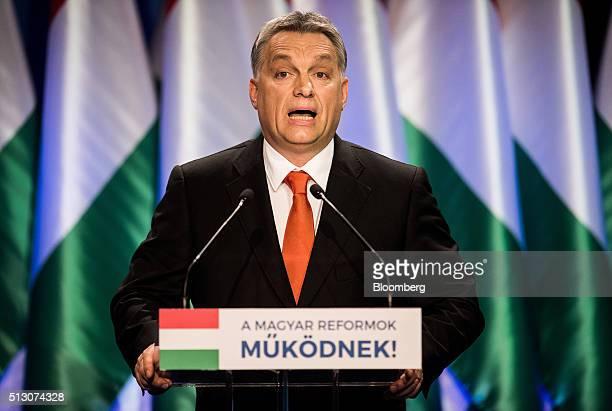 Viktor Orban Hungary's prime minister speaks during an annual state address in Budapest Hungary on Sunday Feb 28 2016 Hungary's referendum aimed at...
