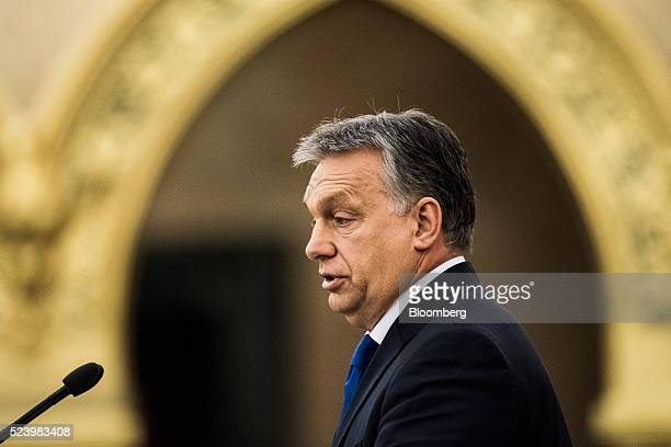 Viktor Orban Hungary's prime minister speaks during the fifth constitution anniversary event at the national parliament in Budapest Hungary on Monday...