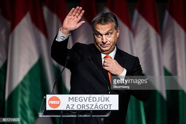 Viktor Orban Hungary's prime minister waves during an address at the Fidesz Party congress in Budapest Hungary on Sunday Dec 13 2015 Orban has moved...