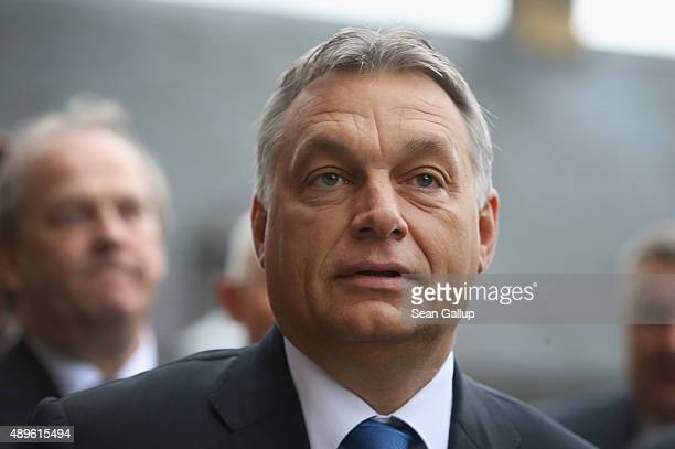 Viktor Orban Prime Minister of Hungary arrives at a meeting of the CSU Bavarian Christian Democrats parliamentary faction at Kloster Banz on...
