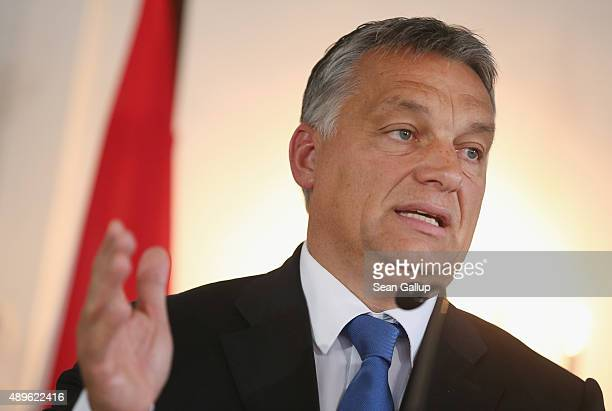 Viktor Orban Prime Minister of Hungary speaks to the media at a meeting of the CSU Bavarian Christian Democrats parliamentary faction at Kloster Banz...