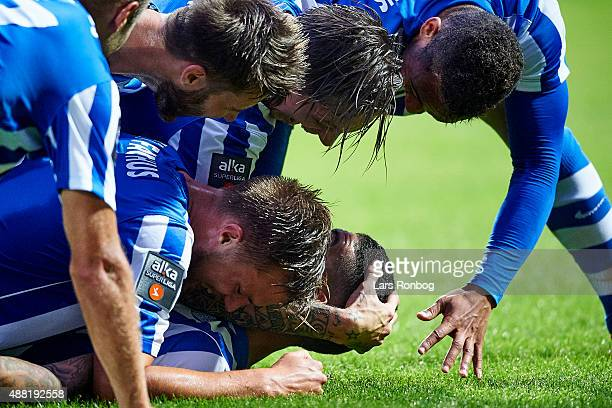 Viktor Palsson of Esbjerg fB celebrates after scoring their third goal during the Danish Alka Superliga match between Esbjerg fB and OB Odense at...