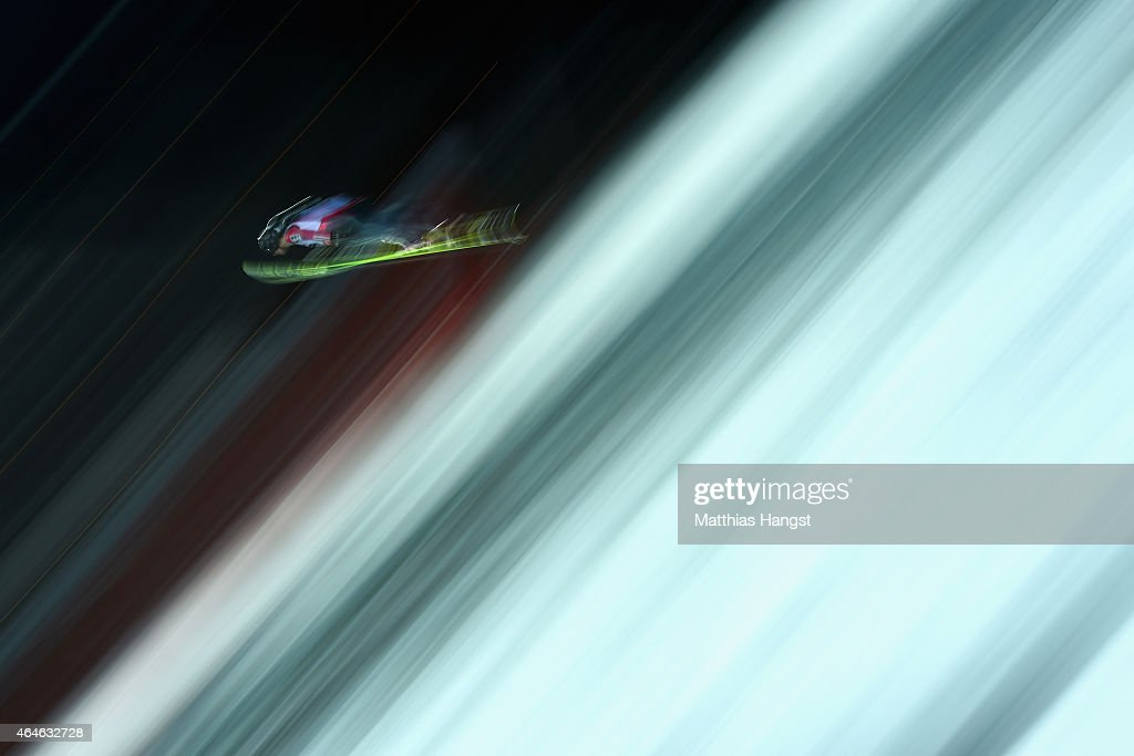 Viktor Polasek of Czech Republic practices during the Men's Large Hill Team Ski Jumping training during the FIS Nordic World Ski Championships at the...