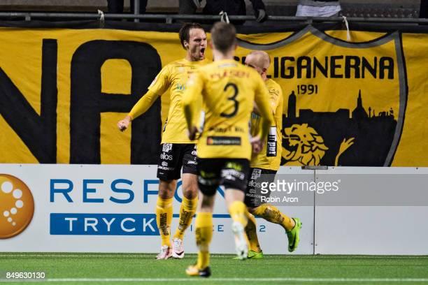 Viktor Prodell of IF Elfsborg celebrates after scoring 11 during the Allsvenskan match between IF Elfsborg and Djurgardens IF at Boras Arena on...