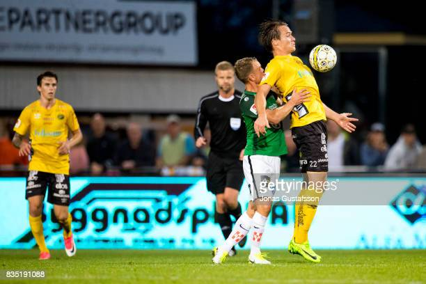 Viktor Prodell of IF Elfsborg competes for the ball during the Allsvenskan match between Jonkopings Sodra IF and IF Elfsborg at Stadsparksvallen on...