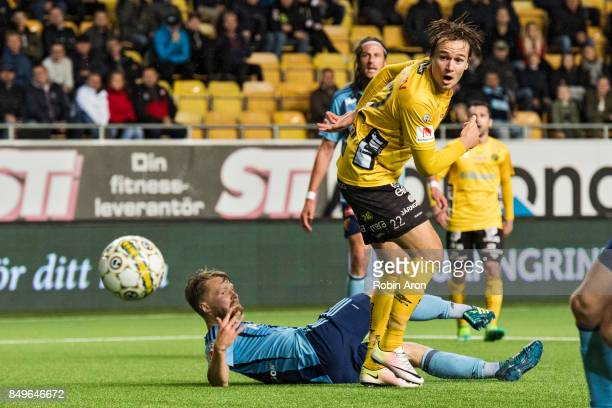 Viktor Prodell of IF Elfsborg misses a chance in the end and Jacob Une Larsson of Djurgardens IF down during the Allsvenskan match between IF...