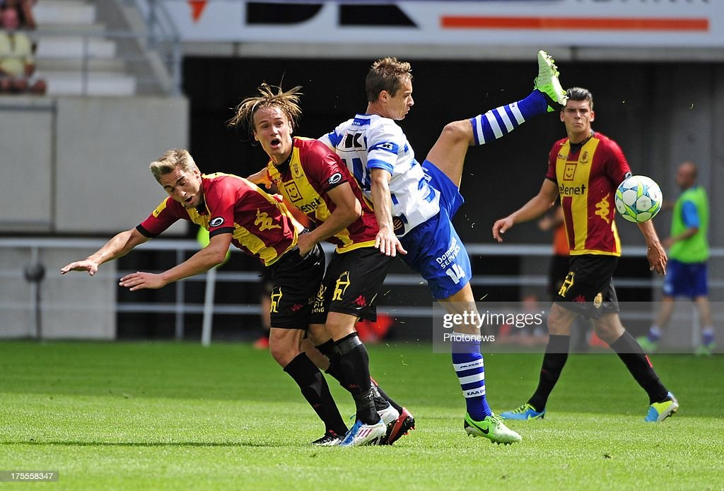 Viktor Prodell of KV Mechelen and David Hubert of KAA Gent during the Jupiler League match between KAA Gent and KV Mechelen on August 04, 2013 in the Ghelamco stadium Gent, Belgium. (Photo by Philippe Crcohet / Photonews