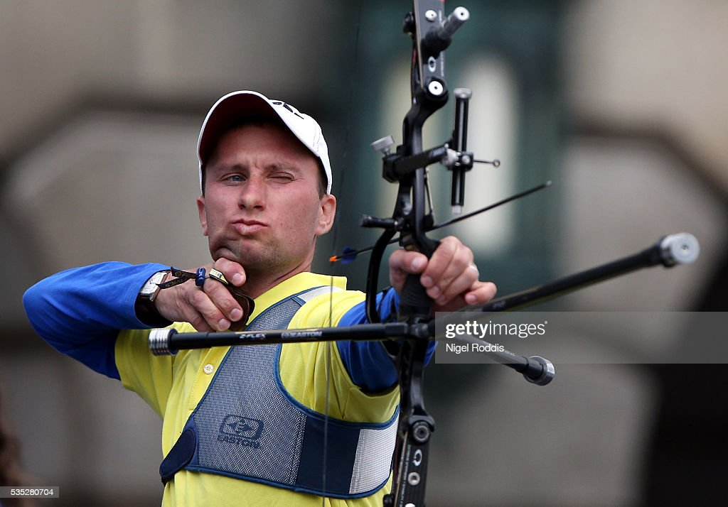 <a gi-track='captionPersonalityLinkClicked' href=/galleries/search?phrase=Viktor+Ruban&family=editorial&specificpeople=2948428 ng-click='$event.stopPropagation()'>Viktor Ruban</a> of Ukraine shoots during the Mixed Recurve Bronze medal team match at the European Archery Championship on May 29, 2016 in Nottingham, England.