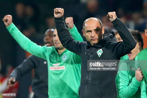 Viktor Skripnik head coach of Bremen celebrates victory after winning the Bundesliga match between FC Augsburg and SV Werder Bremen at WWK Arena on...