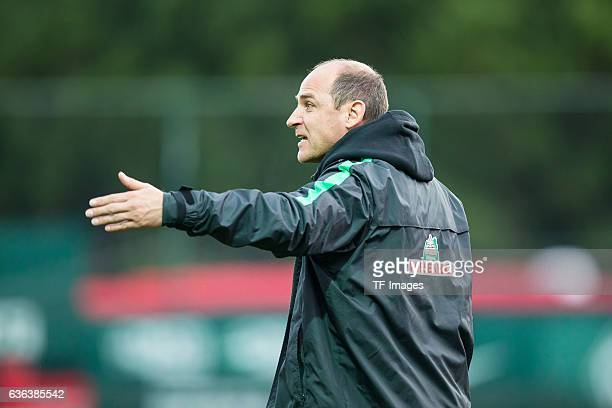 Viktor Skripnik of Werder Bremen gestures during the Friendly Match between SV Werder Bremen and FC Erzgebirge Aue on January 10 2016 in Belek Turkey