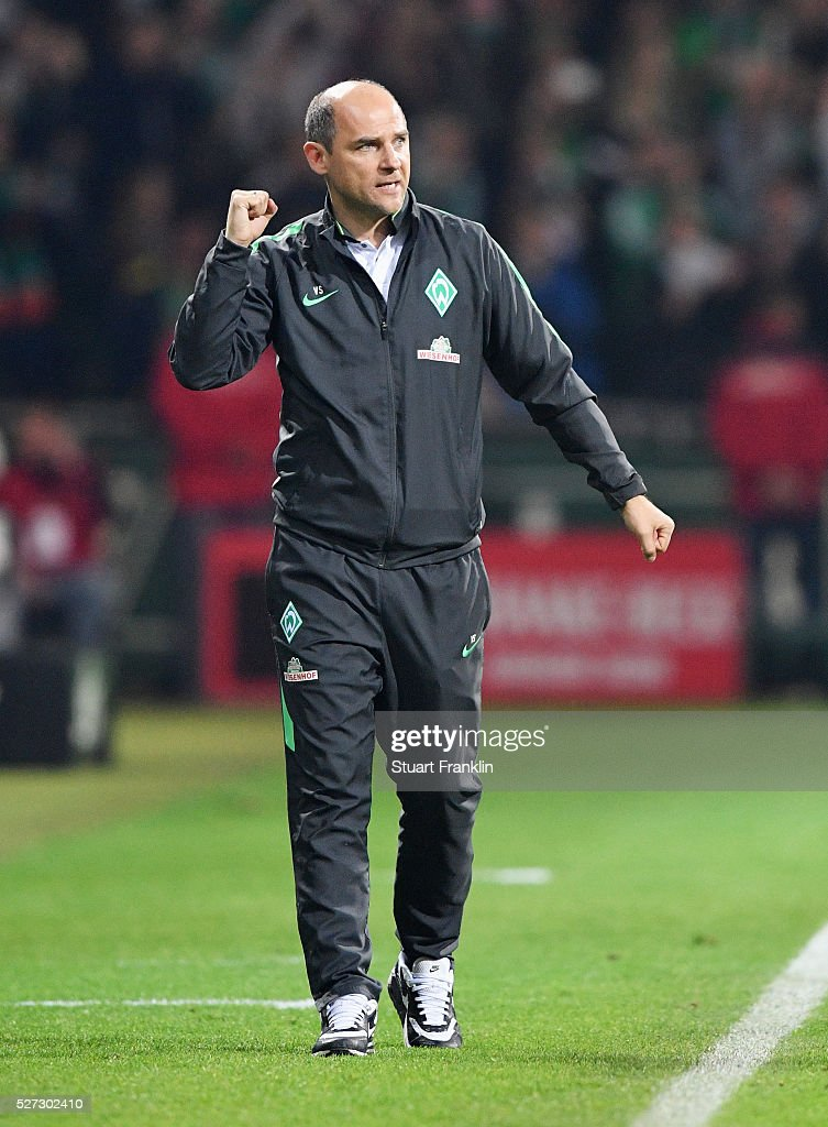 Viktor Skrypnyk manager of Werder Bremen celebrates during the Bundesliga match between Werder Bremen and VfB Stuttgart at Weserstadion on May 2, 2016 in Bremen, Germany.