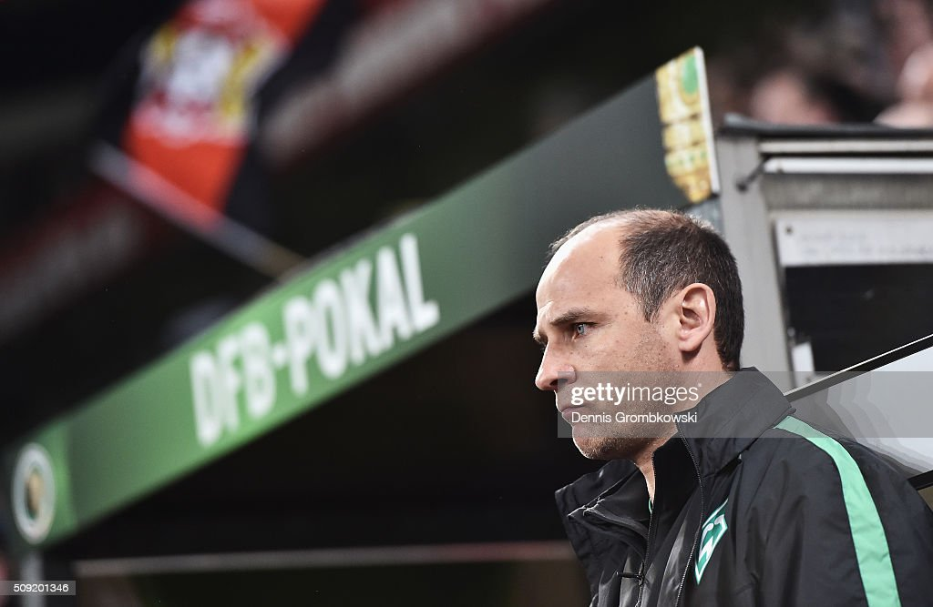 Viktor Skrypnyk manager of Werder Bremen looks on prior to the DFB Cup Quarter Final match between Bayer Leverkusen and Werder Bremen at BayArena on February 9, 2016 in Leverkusen, Germany.