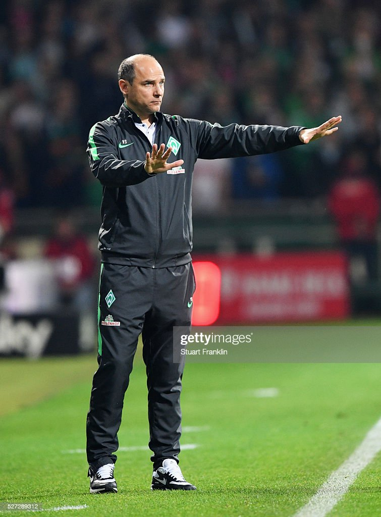 Viktor Skrypnyk manager of Werder Bremen singals during the Bundesliga match between Werder Bremen and VfB Stuttgart at Weserstadion on May 2, 2016 in Bremen, Germany.