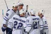 Viktor Stalberg Colton Orr Francois Beauchemin Jamal Mayers and Ian White of the Toronto Maple Leafs celebrate a goal during the game against the...