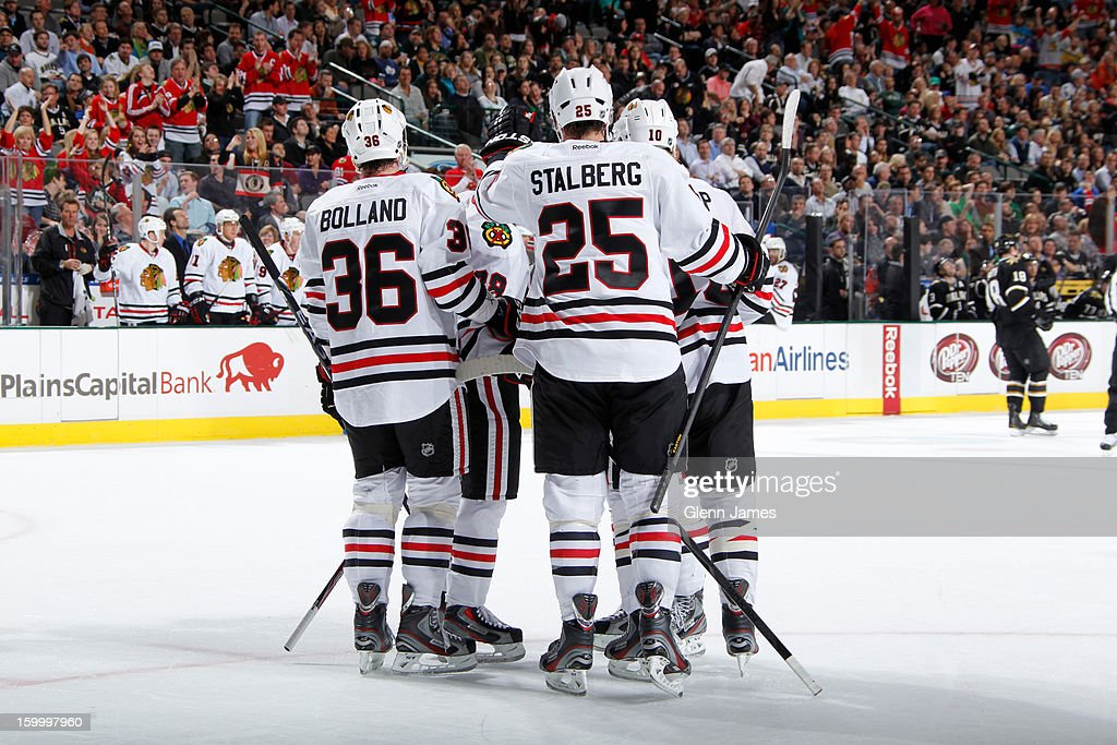<a gi-track='captionPersonalityLinkClicked' href=/galleries/search?phrase=Viktor+Stalberg&family=editorial&specificpeople=5802237 ng-click='$event.stopPropagation()'>Viktor Stalberg</a> #25, Dave Bolland #36 and the Chicago Blackhawks celebrate a goal against the Dallas Stars at the American Airlines Center on January 24, 2013 in Dallas, Texas.