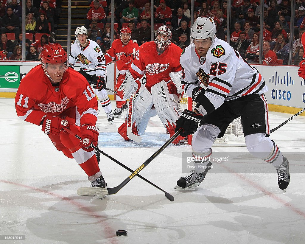 Viktor Stalberg of the Chicago Blackhawks battles for the puck with Dan Cleary of the Detroit Red Wings during an NHL game at Joe Louis Arena on...