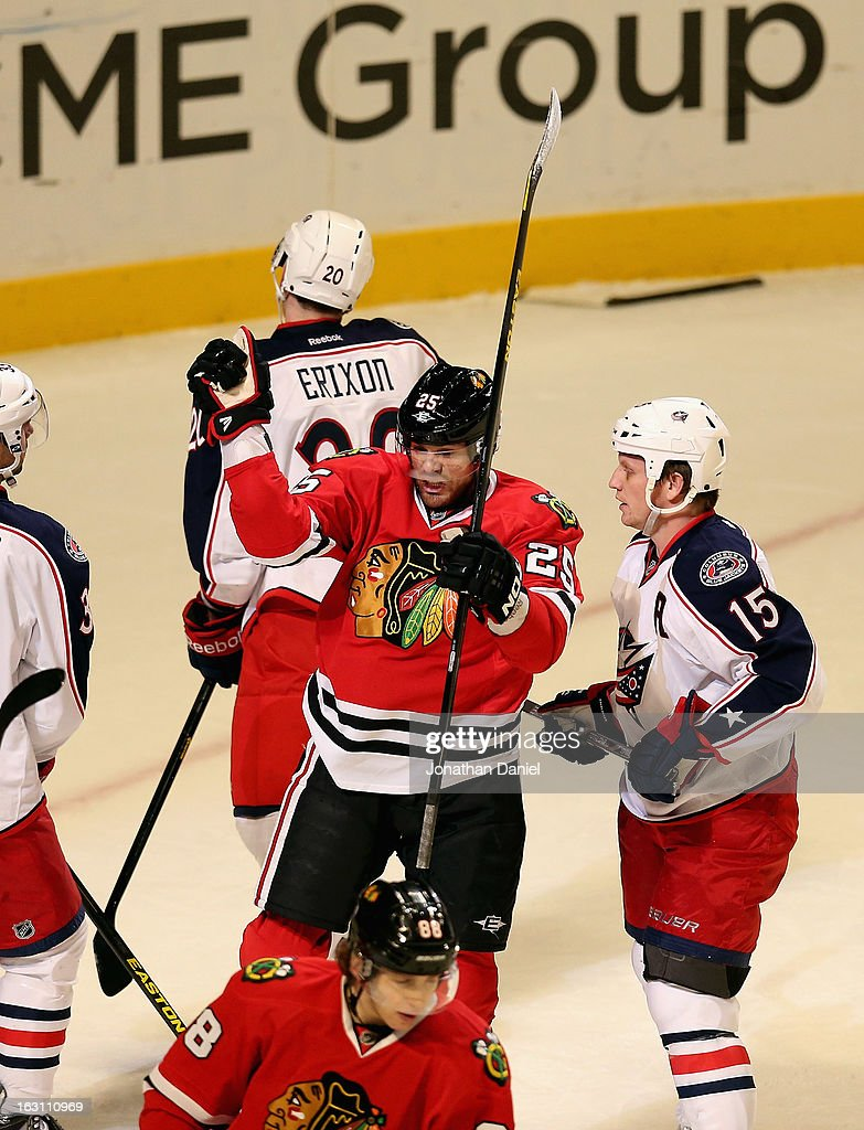 <a gi-track='captionPersonalityLinkClicked' href=/galleries/search?phrase=Viktor+Stalberg&family=editorial&specificpeople=5802237 ng-click='$event.stopPropagation()'>Viktor Stalberg</a> #25 of the Chicago Blackhawks celebrates a goal against the Columbus Blue Jackets at the United Center on March 1, 2013 in Chicago, Illinois. The Blackhawks defeated the Blue Jackets 4-3 in overtime.