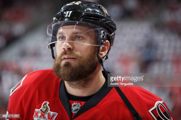Viktor Stalberg of the Ottawa Senators looks on during warmup prior to playing against the Pittsburgh Penguins in Game Six of the Eastern Conference...