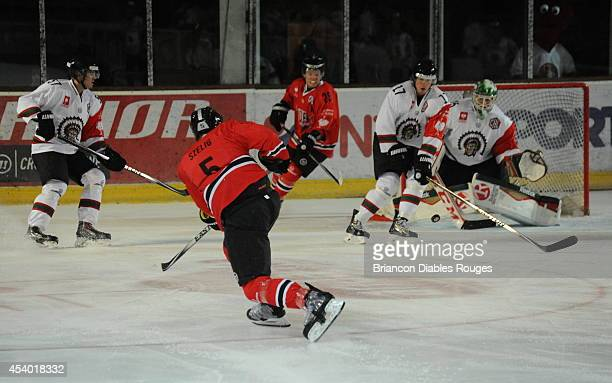Viktor Szelig of Briancon Diables Rouges shoots during the Champions Hockey League group stage game between Briancon Diables Rouges and Frolunda...
