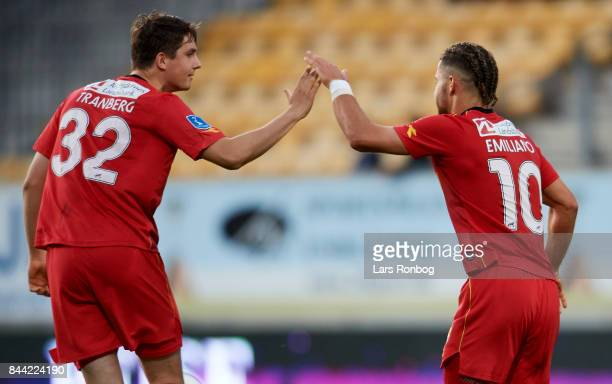 Viktor Tranberg and Emiliano Marcondes of FC Nordsjalland celebrate after scoring their first goal during the Danish Alka Superliga match between AC...