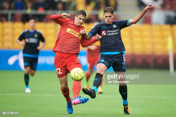 Viktor Tranberg of FC Nordsjalland and Jan Kliment of Brondby IF compete for the ball during the Danish Alka Superliga match between FC Nordsjalland...