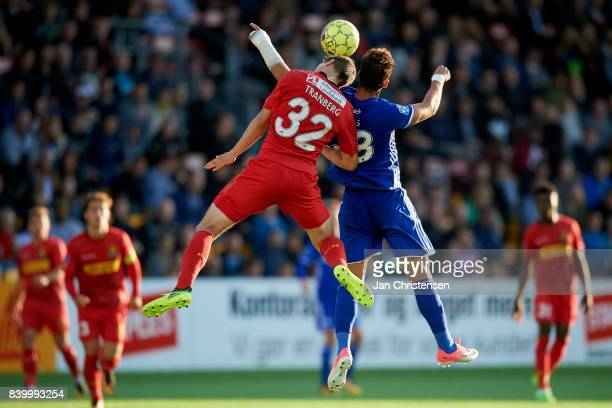 Viktor Tranberg of FC Nordsjalland and Pieros Sotiriou of FC Copenhagen compete for the ball during the Danish Alka Superliga match between FC...