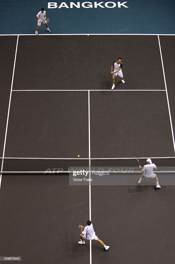 Viktor Troicki of Serbia and Christopher Kas of Germany in action during their doubles match against Jonathan Erlich of Israel and Jurgen Melzer of...