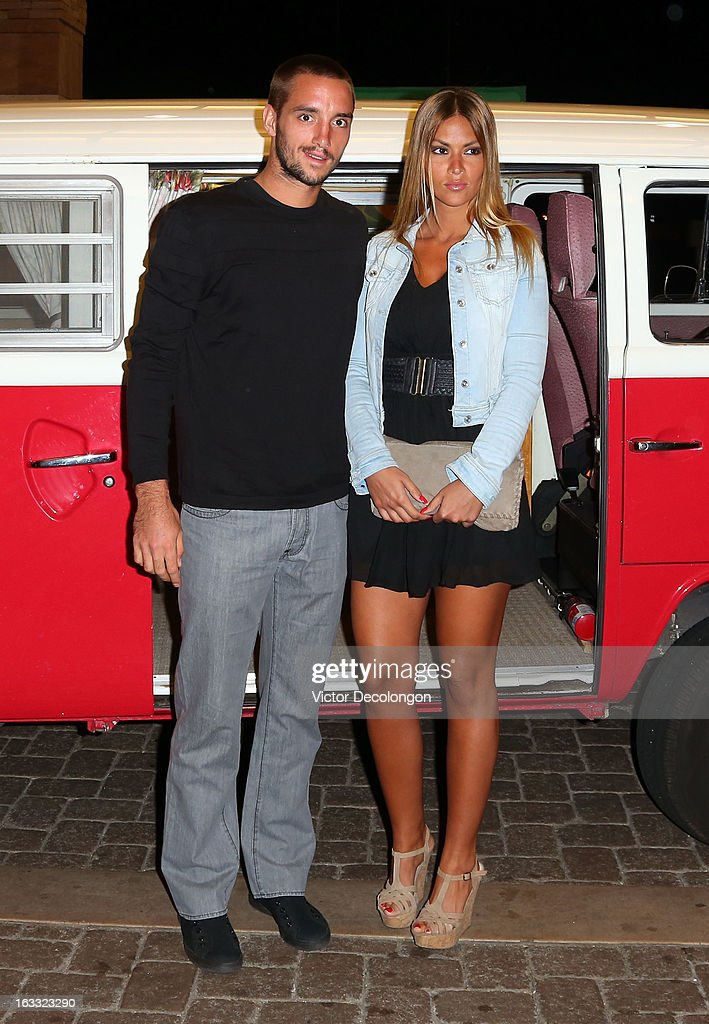 Viktor Troicki of Serbia and Suncica Travica arrive for a player's party at the IW Club on March 7, 2013 in Indian Wells, California.