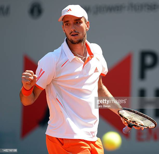 Viktor Troicki of Serbia celebrates during his match against Florian Mayer of Germany during day five of Power Horse World Team Cup at Rochusclub on...