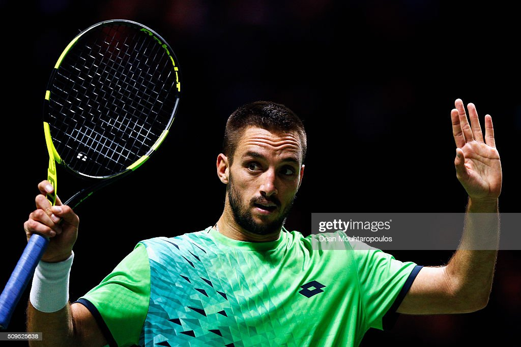 Viktor Troicki of Serbia celebrates victory against Hyeon Chung of South Korea during day 4 of the ABN AMRO World Tennis Tournament held at Ahoy Rotterdam on February 11, 2016 in Rotterdam, Netherlands.