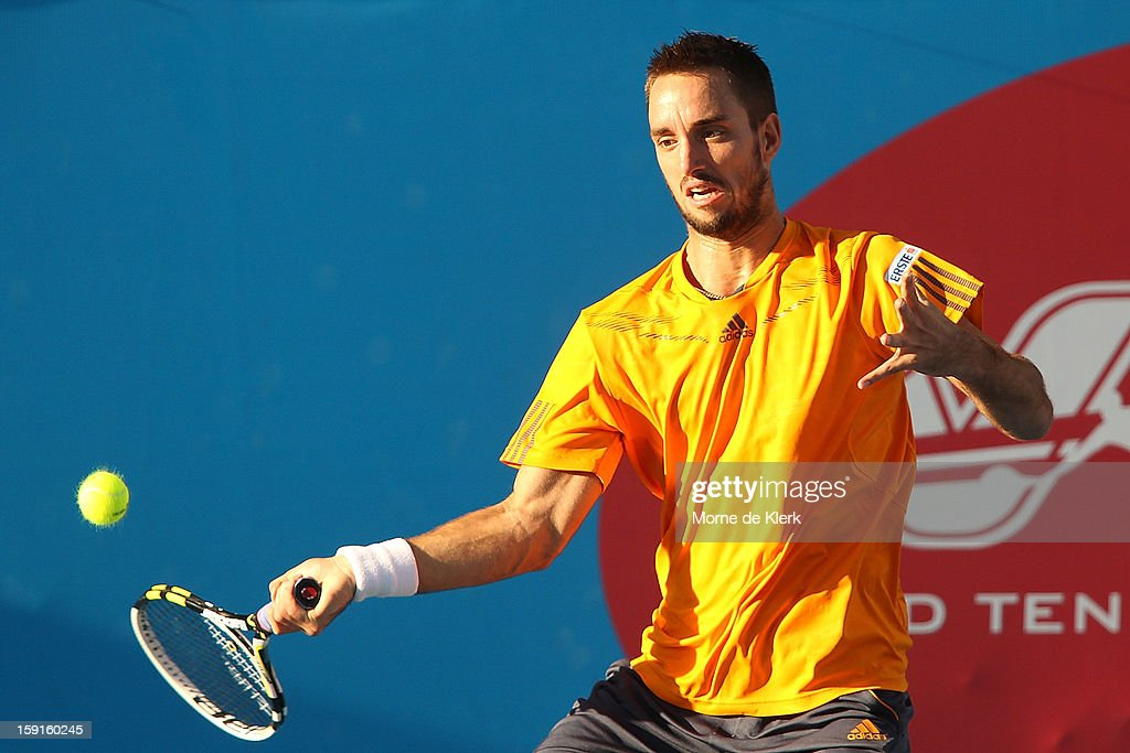 <a gi-track='captionPersonalityLinkClicked' href=/galleries/search?phrase=Viktor+Troicki&family=editorial&specificpeople=553829 ng-click='$event.stopPropagation()'>Viktor Troicki</a> of Serbia competes during the World Tennis Challenge at Memorial Drive on January 9, 2013 in Adelaide, Australia.